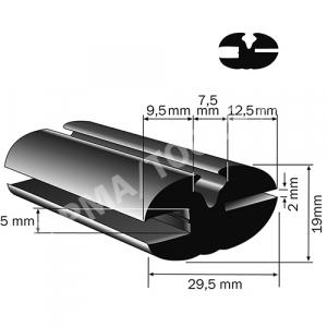 Weatherstrip profile, 29,5x19 mm, 15 m